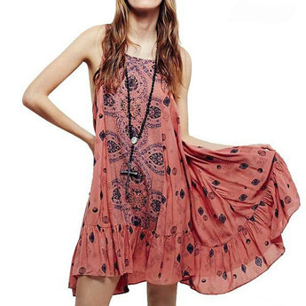 Sexy Slip Dress - Floral Print Pink / Casual Hippie Chic / Loose Boho Beach Style