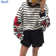 New Autumn Harajuku Hoodies Roses Lantern Sleeve Loose Striped Women Sweatshirt Vintage Casual Tops