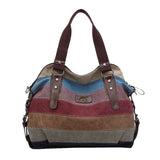 Fashion Canvas Super Patchwork Bag - Shopping Handbag Tote / Casual Beach Shoulder Bag