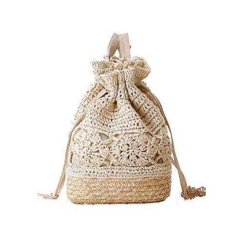 Summer Boho Backpacks Handmade Crocheted Rucksack Woven Straw Bags Ladies Travel Bags Hollow Out Drawstring Beach Bag Soft Zaino