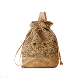 Summer Boho Backpacks Handmade Crocheted Rucksack Woven Straw Bags Ladies Travel Bags Hollow Out Drawstring Beach Bag Soft Zaino - Marc Balieu