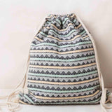 Vintage Backpack Female Gypsy Bohemian Boho Chic Aztec Folk Tribal Ethnic Fabric Brown String Drawstring Backpack Bag