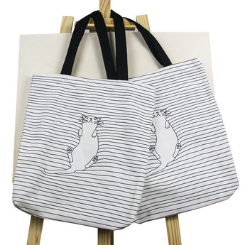 Cute Striped Napping Cat Cotton Canvas Handbag / Eco Single Shoulder Shopping Tote / Beach Bags