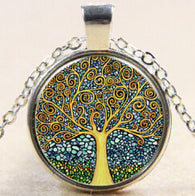 Vintage Time Stone Necklace -  Colorful Tree Of Life Necklace / Steampunk Jewelry / Boho Necklace