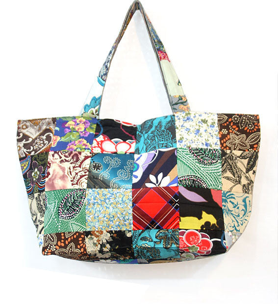 Unique Bohemian Shoulder Bag - Handbag Tote Patchwork / Big Travel Bag / Cotton High Quality