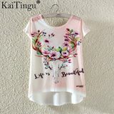 Fashion Summer Kawaii Cute T Shirt Harajuku High Low Style Cat Print T-shirt Short Sleeve T Shirt Women Tops Plus Size