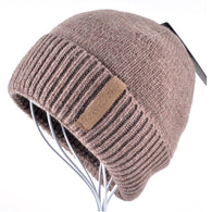 Winter Beanies Solid Color Knitted Warm Soft Beanie Double Layer Plus Thick Cap