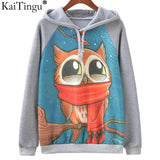 Fashion Autumn Winter Long Sleeve Women Sweatshirt Harajuku Owl Print Hoodies Hooded Tracksuit Jumper Pullover