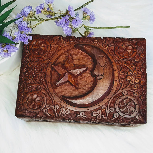 Moon and Star Carved Wooden Box - Willow Moon Shop
