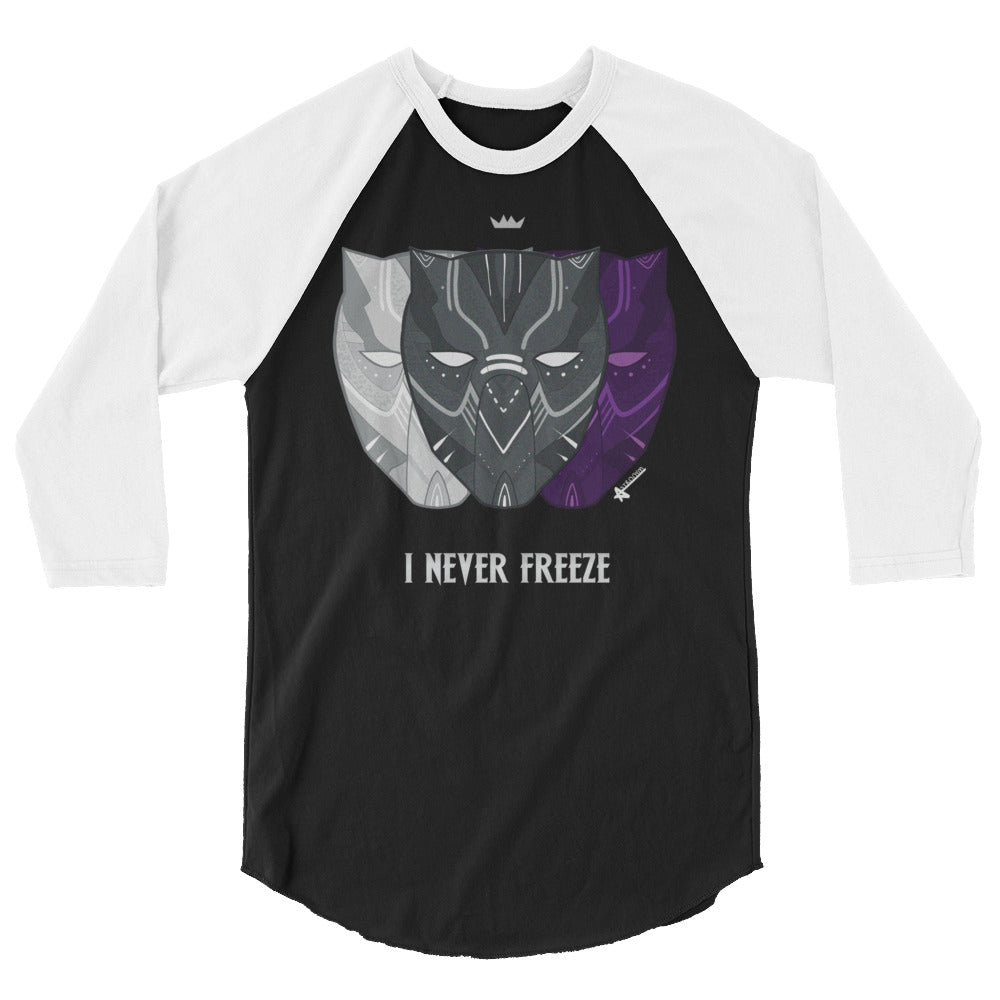 Never Freeze 3/4 Sleeve Raglan Shirt (Unisex)