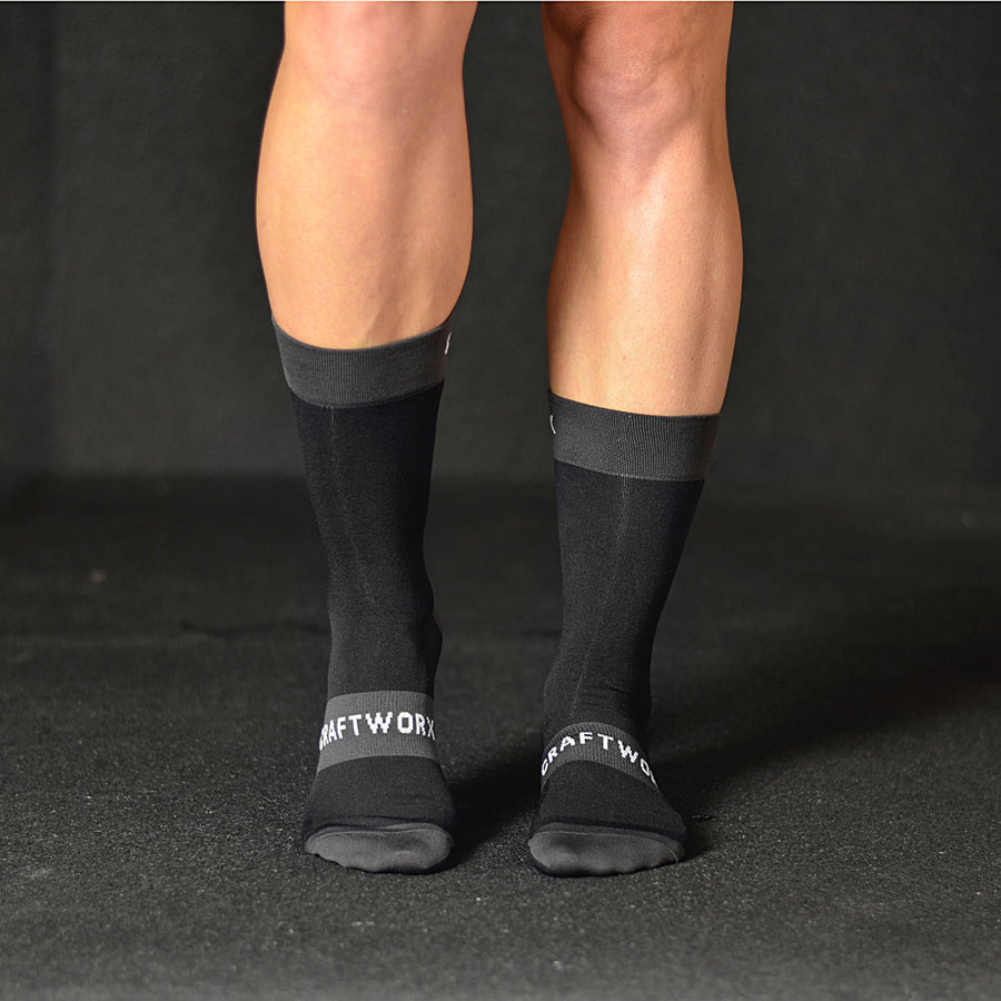 Craftworx Cycling Socks | Black/Grey/White | Single Pair
