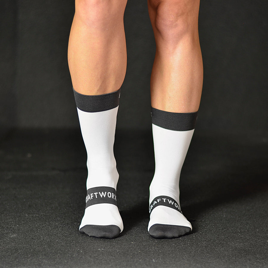 Craftworx Cycling Socks | White/Grey | Single Pair