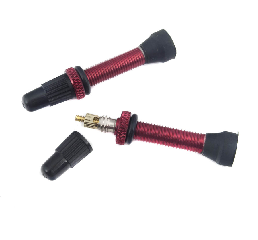 Craftworx Tubeless Alloy Valve 2pc Set - Red