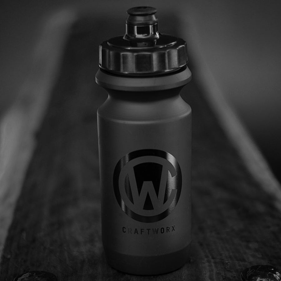 Craftworx Soft Squeeze Water Bottle - Matt Black/Gloss Black Logo