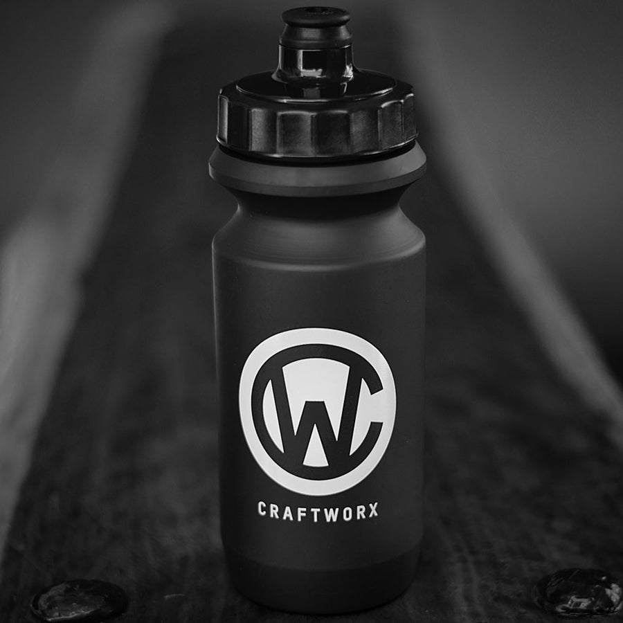 Craftworx Soft Squeeze Water Bottle - Matt Black/Gloss White Logo