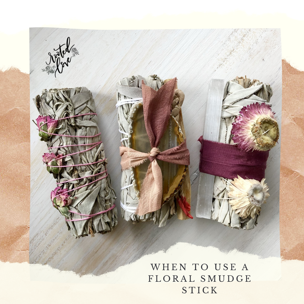 Rooted Love Sage Floral Smudge Stick