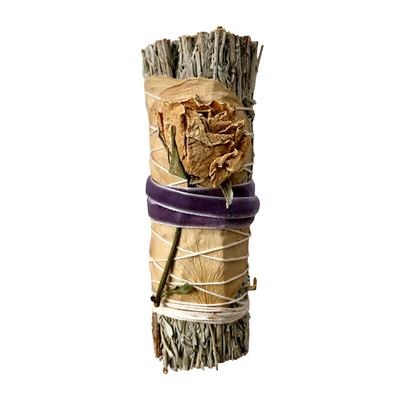 Blue Sage & Rose Smudge Stick - Purple Vintage Velvet