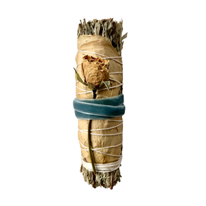 Blue Sage & Rose Smudge Stick - Blue Vintage Velvet