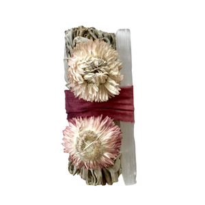 White Sage & Selenite Floral Smudge Stick Bundle
