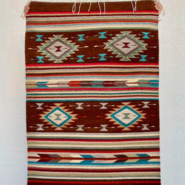 Area Rug 2.5' x 5' / Handwoven Wool from Oaxaca / Diamantes & Flechas / Burgundy with Multicolor Details