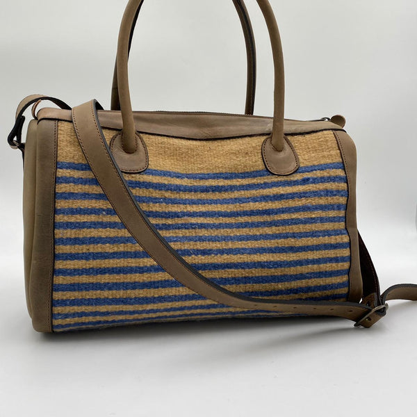 "Hand-woven Wool Carry On with Leather Strap - Caramel and Blue ""Rayas"""