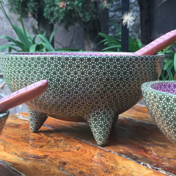 Molcajete Serving Bowls / Forest Green & Lilac