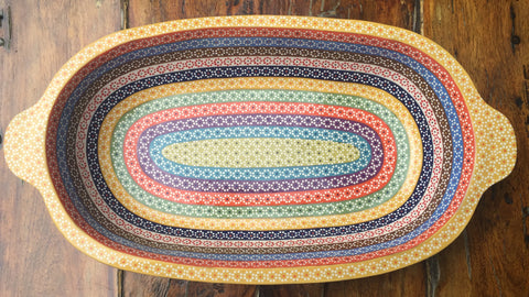"""Pavera"" Serving Dish / Rainbow / Yellow Rim"