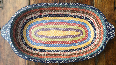 """Pavera"" Serving Dish / Rainbow / Royal Blue Rim"