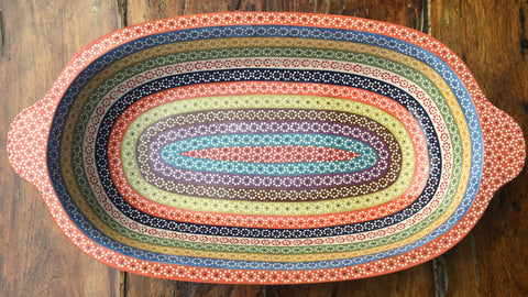 """Pavera"" Serving Dish / Rainbow / Orange Rim"