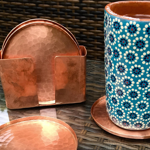 Hand-hammered copper coasters / Set of 6 / Round / High shine finish