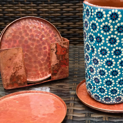 Hand-hammered copper coasters / Set of 6 / Round / Matte finish