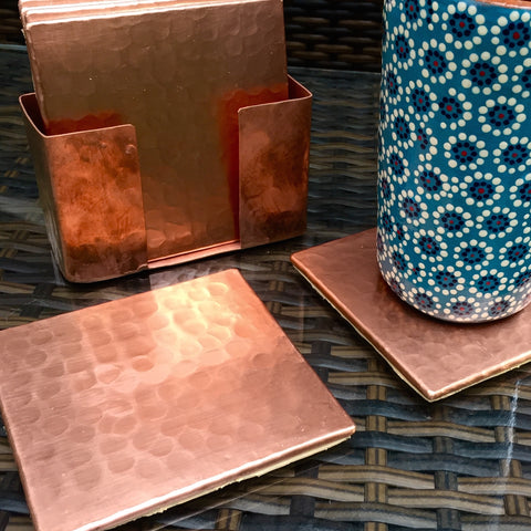 Hand-hammered copper coasters / Set of 6 / Square / High shine finish