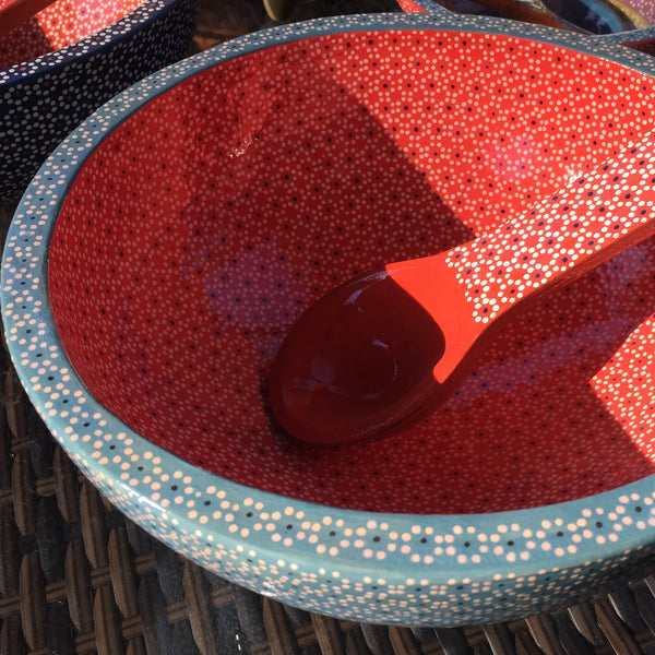 Molcajete Serving Bowls / Turquoise & Red