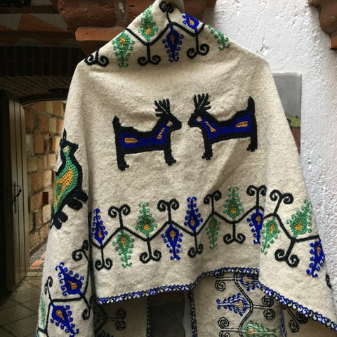 "Embroidered rebozo / ""Animales"" / Blue & Green"