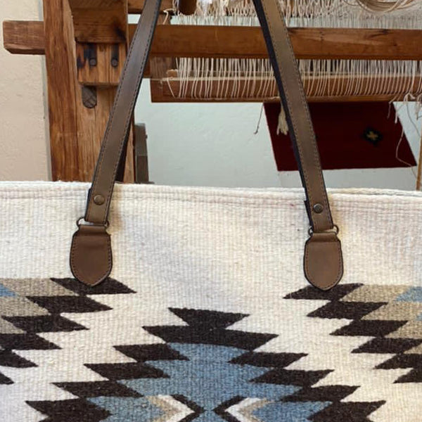 Hand-woven Wool Tote with Leather Strap  / Diamantes / Chocolate, Slate, and White