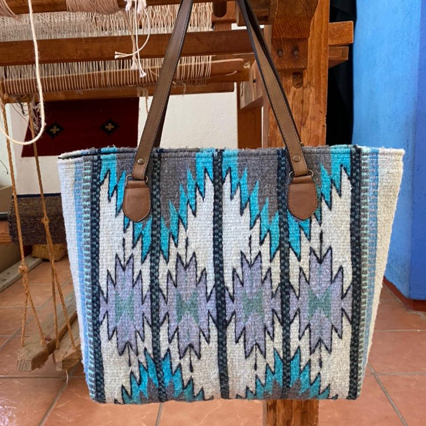 Hand-woven Wool Tote with Leather Strap  / Diamantes / Blue, White, and Grey