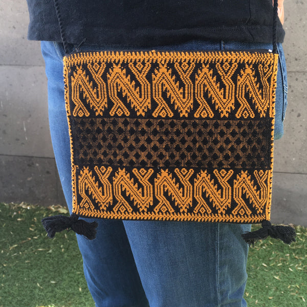Chic Mexican Crossbody Bag / Embroidered in Black & Gold / Chiapas