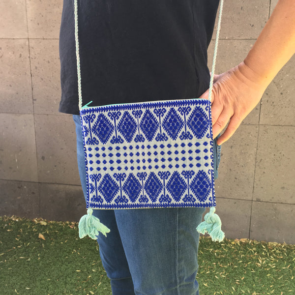 Chic Mexican Crossbody Bag / Embroidered in Blue & Turquoise / Chiapas