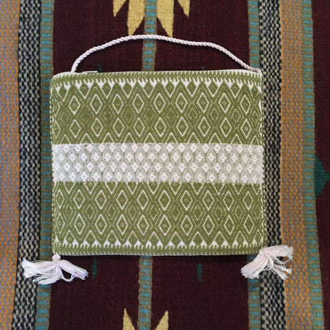 Chic Mexican Crossbody Bag / Embroidered in Green & White / Chiapas