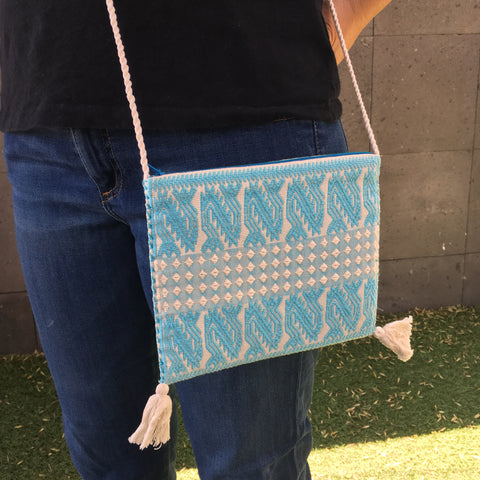 Chic Mexican Crossbody Bag / Embroidered in Turquoise & White / Chiapas