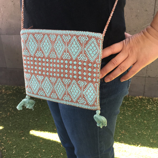 Chic Mexican Crossbody Bag / Embroidered in Turquoise & Copper / Chiapas