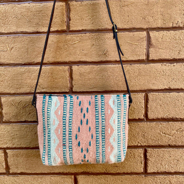 Hand-woven Cross-body Wool Bag with Leather Strap - Dusty Pink & Teal