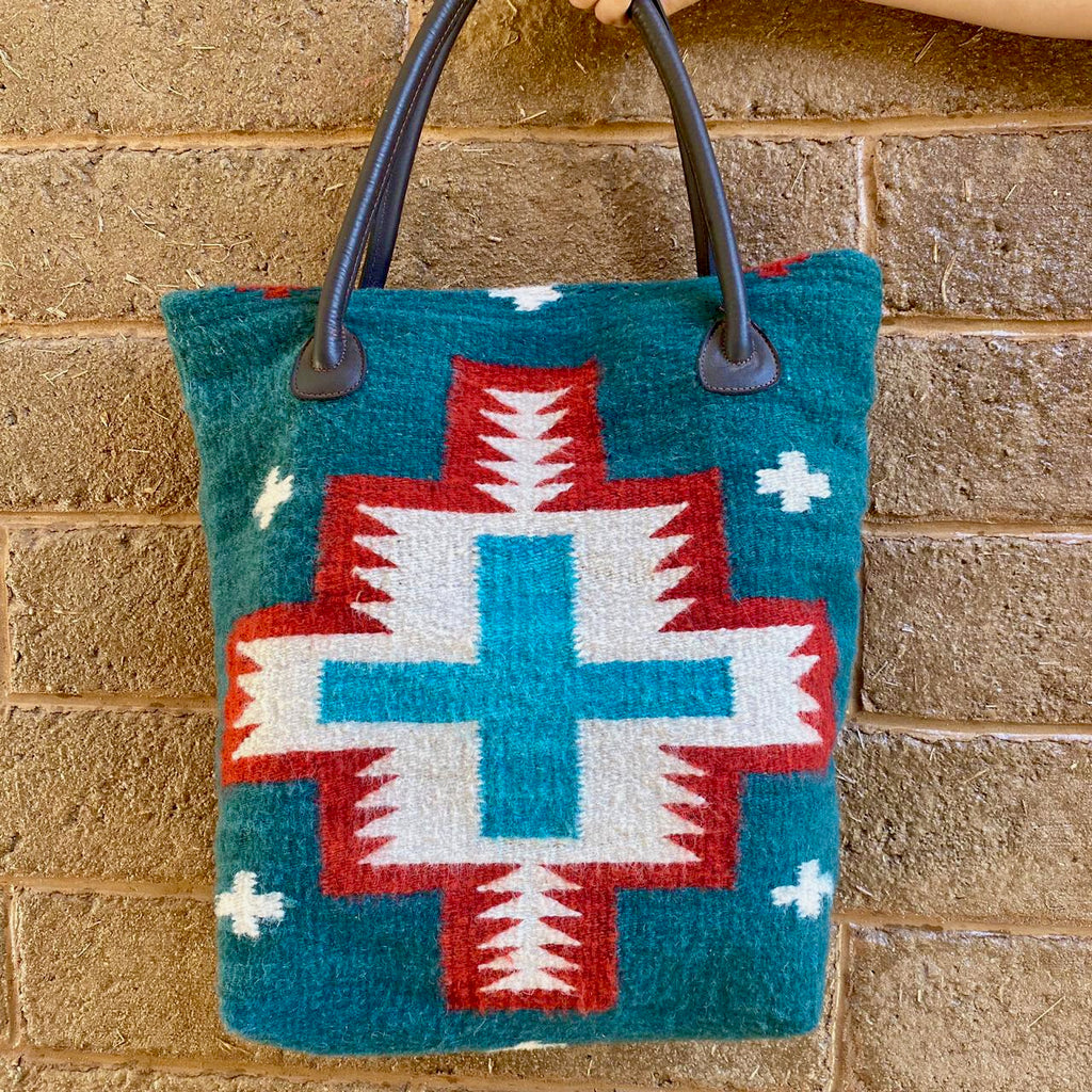 Hand-woven Wool Bag with Leather Straps - Ocean Blue with Red, White & Sky Blue Cross