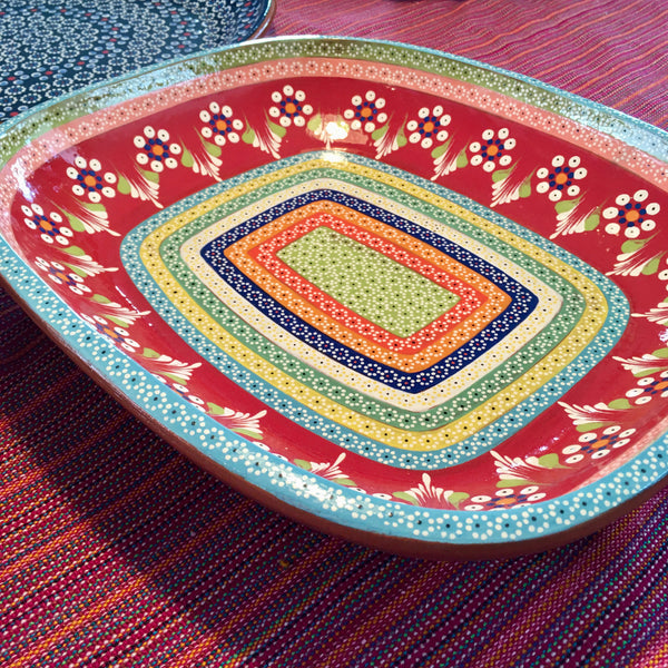 "Platter ""Ovalada"" Serving Dish / Rainbow with Large Flowers / Red"
