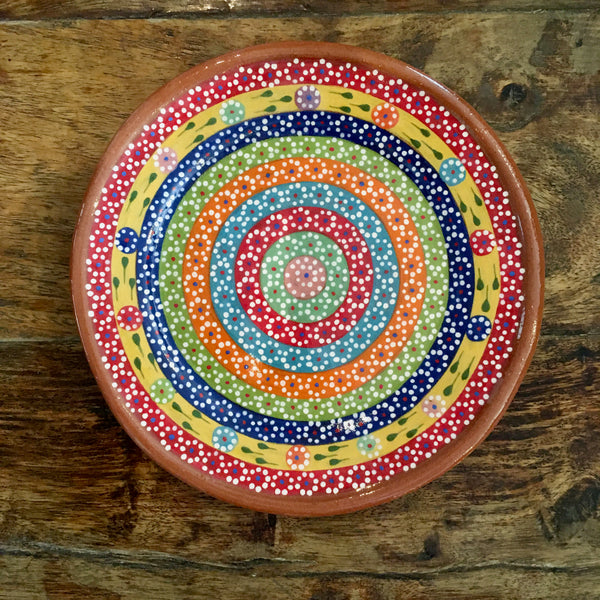 Dessert Plates / Rainbow with Flowers / Red Trim