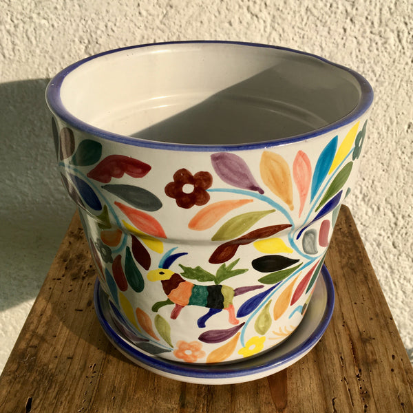 Flower Pot / Tenango with Blue Accent