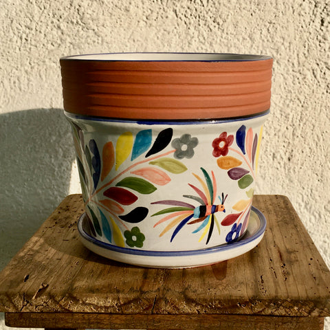 "Flower Pot / Tenango with Blue Accent / ""Tornillo"" Trim"