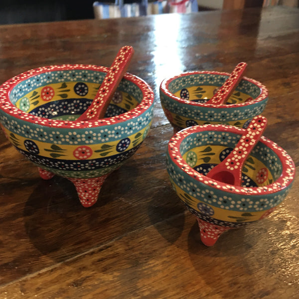 Set of 3 Molcajete Salsa / Salt Dishes / Rainbow with Red Trim