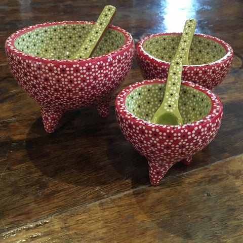 Set of 3 Molcajete Salsa / Salt Dishes / Red & Lime Green