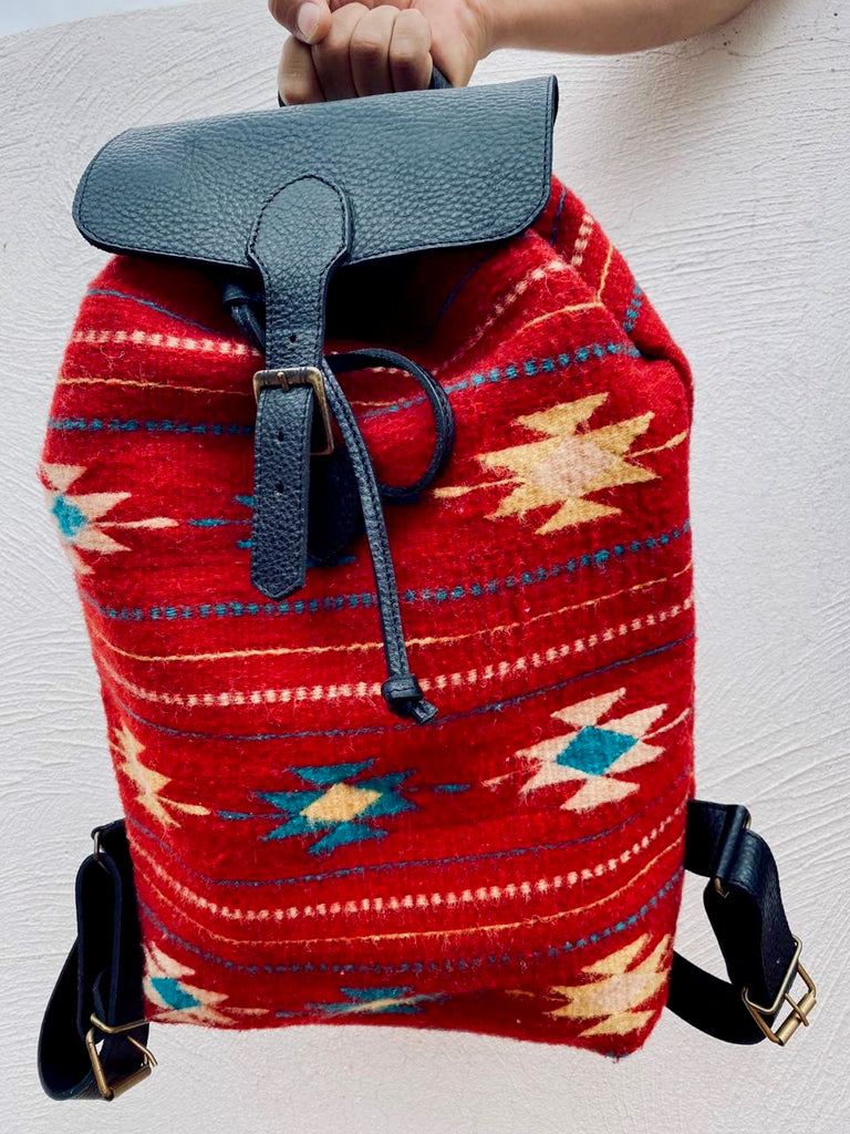 "Hand-woven Wool Backpack -  Red ""Estrellas"""